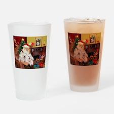 Santa's Westie pair Drinking Glass