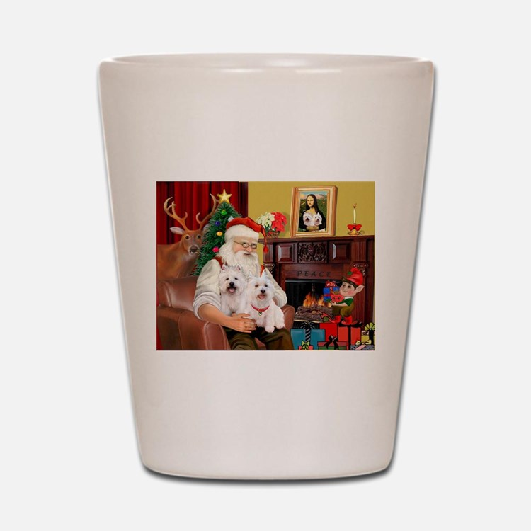 Santa's Westie pair Shot Glass