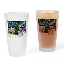 Xmas Magic & 2 Westies Drinking Glass
