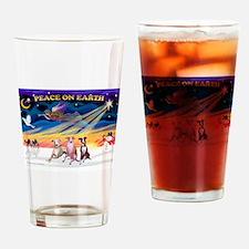 XmasSunrise/3 Whippets Drinking Glass