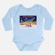 XmasSunrise/3 Whippets Long Sleeve Infant Bodysuit