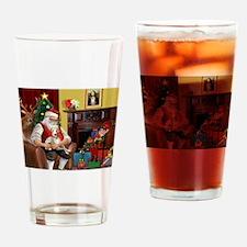 Santa's Whippet Drinking Glass