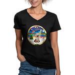 XmasMusic 3/Yorkie #2 Women's V-Neck Dark T-Shirt