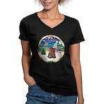 XmasMusic 3/Yorkie #11 Women's V-Neck Dark T-Shirt