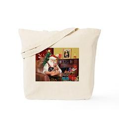 Santa / Yorkie (#9) Tote Bag