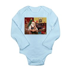 Santa / Yorkie (#9) Long Sleeve Infant Bodysuit