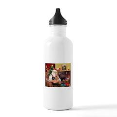 Santa / Yorkie (#9) Water Bottle