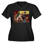 Santa's Yorkie (#11) Women's Plus Size V-Neck Dark