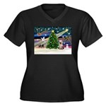 Xmas Magic/Yorkie #2 Women's Plus Size V-Neck Dark