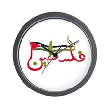Palestine in Arabic - RED Wall Clock