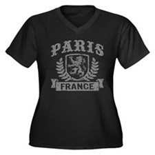 Paris France Women's Plus Size V-Neck Dark T-Shirt