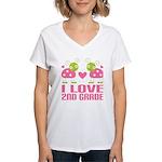 I Love 2nd Grade Gift Women's V-Neck T-Shirt