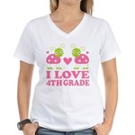 I Love 4th Grade Gift Women's V-Neck T-Shirt