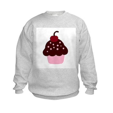 Pink and Brown Cupcake Kids Sweatshirt