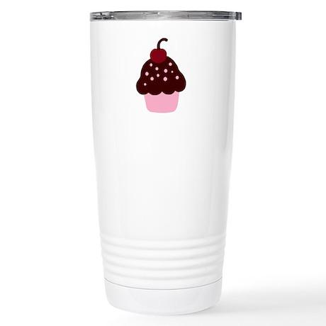 Pink and Brown Cupcake Stainless Steel Travel Mug