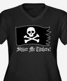 Shiver Me Timbers! Women's Plus Size V-Neck Dark T