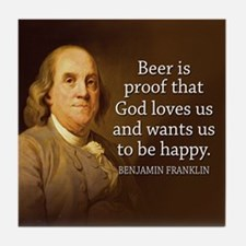 Ben Franklin Quotes Tile Coaster