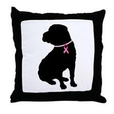 Shar Pei Breast Cancer Support Throw Pillow