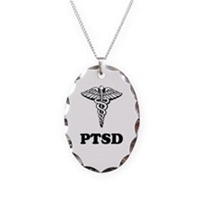 PTSD Alert Necklace Oval Charm