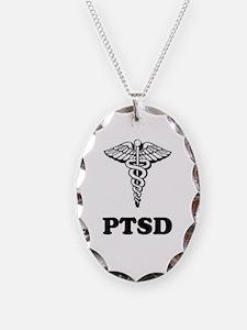 PTSD Alert Necklace Oval Charm