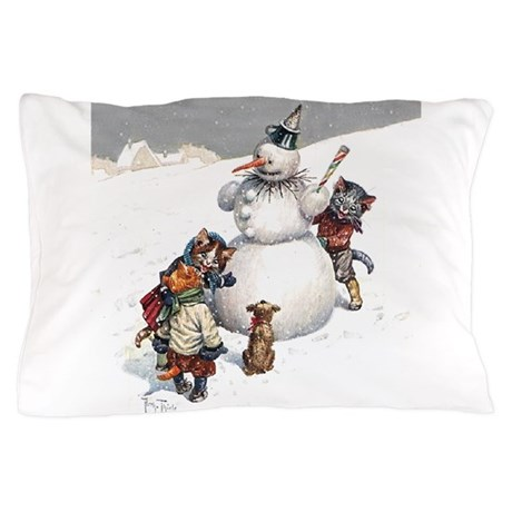 Cats in the Snow Pillow Case