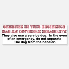 Service Dog in Residence Bumper Bumper Sticker