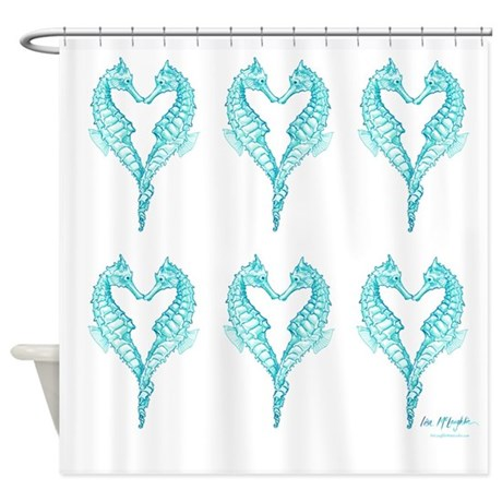 2 blue seahorses together shower curtain