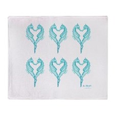 2 blue seahorses together Throw Blanket