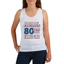 Cool 80 year old birthday designs Women's Tank Top