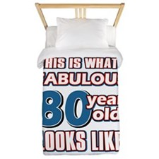 Cool 80 year old birthday designs Twin Duvet