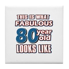 Cool 80 year old birthday designs Tile Coaster