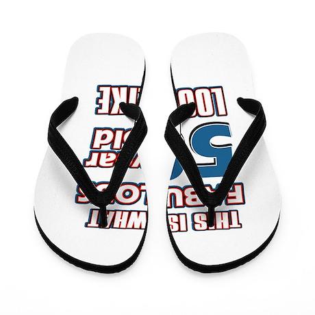 Cool 50 year old birthday designs Flip Flops