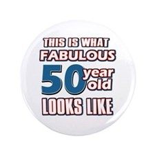 "Cool 50 year old birthday designs 3.5"" Button"