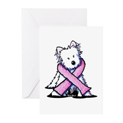 Pink Ribbon Westie Greeting Cards (Pk of 10)
