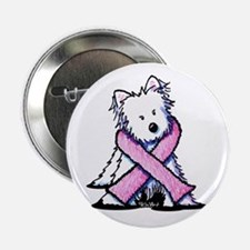 "Pink Ribbon Westie 2.25"" Button"