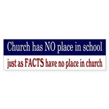 No Facts in Church RW+B Bumper Sticker