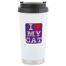 Heart Cat Travel Mug: Purp/rainbow