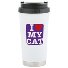 Heart Cat Travel Mug: Purple w/whi