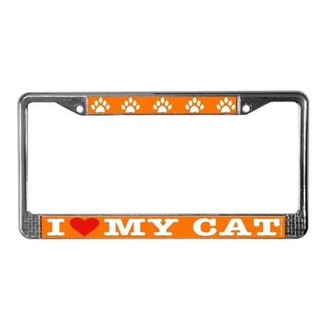 Heart Cat License Plate Frame: Orange/white letter