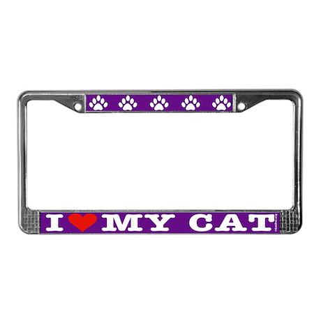 Heart Cat License Plate Frame: Purple/white letter