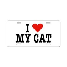 I Heart My Cat (White) Aluminum License Plate