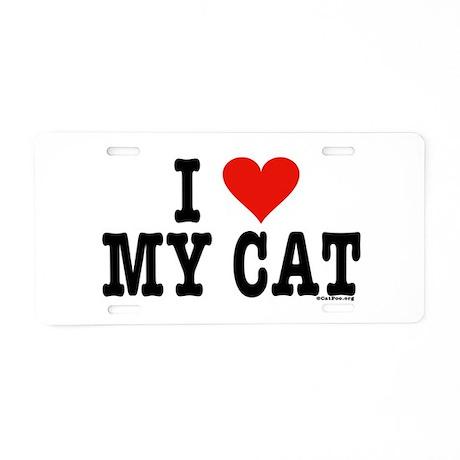 I Heart My Cat (White) Aluminum License Plate