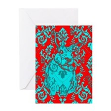 Damasked Rabbit Greeting Card