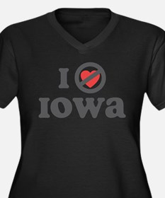 Don't Heart Iowa Women's Plus Size V-Neck Dark T-S