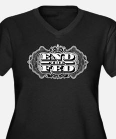 End the Fed Women's Plus Size V-Neck Dark T-Shirt