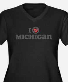 Don't Heart Michigan Women's Plus Size V-Neck Dark