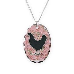 Pink Background Chicken Necklace