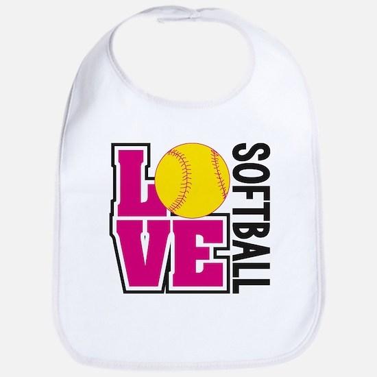 Love Softball Baby Bib