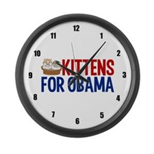 Kittens for Obama Large Wall Clock