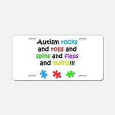 Autism Rocks Aluminum License Plate